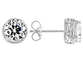 White Cubic Zirconia Platinum Over Sterling Silver Stud Earrings 4.37ctw