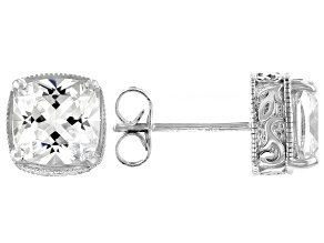 White Cubic Zirconia Platinum Over Sterling Silver Stud Earrings 5.16ctw