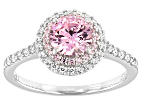 Pink And White Cubic Zirconia Platinum Over Sterling Silver Ring 2.54ctw