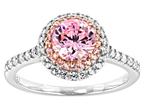 Pink And White Cubic Zirconia Platinum And 18K Rose Gold Over Silver Ring 2.54ctw