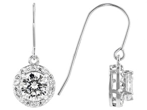 White Cubic Zirconia Platinum Over Sterling Silver Dangle Earrings 3.80ctw