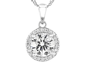 White Cubic Zirconia Platinum Over Sterling Silver Pendant With Chain 3.31ctw