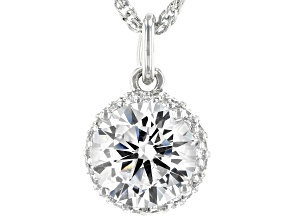 White Cubic Zirconia Platinum Over Sterling Silver Pedant With Chain 3.75ctw