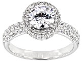 White Cubic Zirconia Platinum Over Sterling Silver Ring 3.92ctw