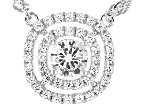 White Cubic Zirconia Platinum Over Sterling Silver Necklace 1.44tctw