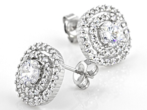 White Cubic Zirconia Platinum Over Sterling Silver Earrings 2.88ctw