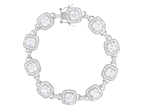 White Cubic Zirconia Platinum Over Sterling Silver Tennis Bracelet 15.36ctw