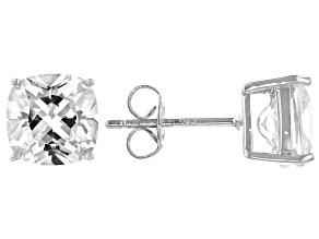 White Cubic Zirconia Platinum Over Sterling Silver Stud Earrings 7.20ctw