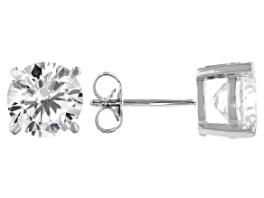 White Cubic Zirconia Platinum Over Sterling Silver Stud Earrings 5.94ctw