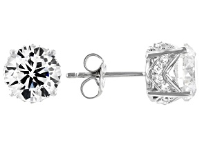 White Cubic Zirconia Platinum Over Sterling Silver Stud Earrings 6.44ctw