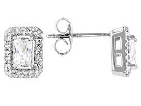 White Cubic Zirconia Platinum Over Sterling Silver Earrings 1.17ctw