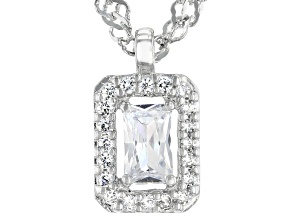 White Cubic Zirconia Platinum Over Sterling Silver Necklace 0.58ctw