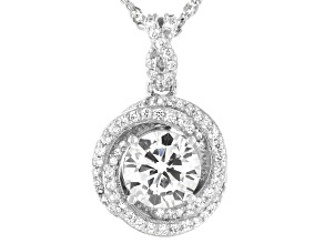 White Cubic Zirconia Platinum Over Sterling Silver Pendant With Chain 2.67ctw
