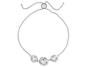 White Cubic Zirconia Platinum Over Sterling Silver Adjustable Bracelet 1.29ctw