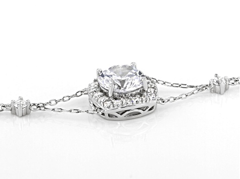 White Cubic Zirconia Platinum Over Sterling Silver Adjustable Bracelet 2.64ctw