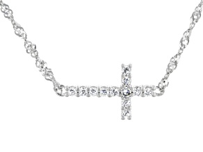 White Cubic Zirconia Platinum Over Sterling Silver Cross Necklace 0.50ctw