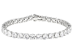 White Cubic Zirconia Platinum Over Sterling Silver Tennis Bracelet 27.54ctw