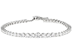White Cubic Zirconia Platinum Over Sterling Silver Adjustable Bracelet 11.44ctw