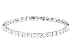 White Cubic Zirconia Platinum Over Sterling Silver Tennis Bracelet 20.62ctw