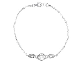 White Cubic Zirconia Platinum Over Sterling Silver Bracelet 1.57ctw