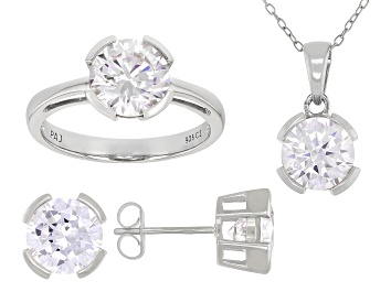 Picture of White Cubic Zirconia Rhodium Over Sterling Silver Pendant With Chain, Ring, And Earrings 11.88ctw