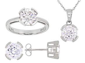 White Cubic Zirconia Rhodium Over Sterling Silver Pendant With Chain, Ring, And Earrings 11.88ctw