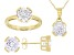 White Cubic Zirconia 18K Yellow Gold Over Sterling  Pendant With Chain, Ring, And Earrings 11.88ctw