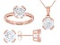 White Cubic Zirconia 18K Rose Gold Over Sterling  Pendant With Chain, Ring, And Earrings 11.88ctw