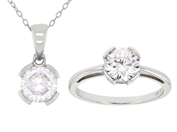 Picture of White Cubic Zirconia Rhodium Over Sterling Silver Pendant With Chain And Ring 4.38ctw