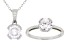 White Cubic Zirconia Rhodium Over Sterling Silver Pendant With Chain And Ring 4.38ctw