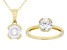 White Cubic Zirconia 18K Yellow Gold Over Sterling Silver Pendant With Chain And Ring 4.38ctw