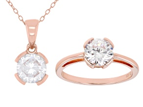 White Cubic Zirconia 18K Rose Gold Over Sterling Silver Pendant With Chain And Ring 4.38ctw