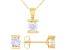 White Cubic Zirconia 18K Yellow Gold Over Sterling Silver Pendant With Chain And Earrings 2.66ctw