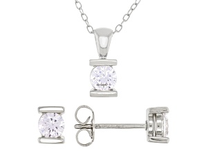White Cubic Zirconia Rhodium Over Sterling Silver Pendant With Chain And Earrings 1.21ctw