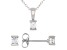 White Cubic Zirconia Rhodium Over Sterling Silver Pendant With Chain And Earrings 0.52ctw