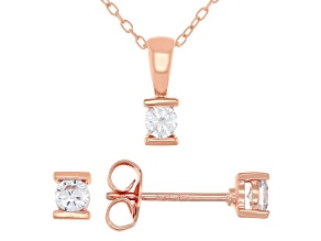 White Cubic Zirconia 18K Rose Gold Over Sterling Silver Pendant With Chain And Earrings 0.52ctw
