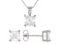 White Cubic Zirconia Rhodium Over Sterling Silver Pendant With Chain And Earrings 5.04ctw