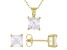 White Cubic Zirconia 18K Yellow Gold Over Sterling Silver Pendant With Chain And Earrings 5.04ctw