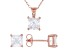 White Cubic Zirconia 18K Rose Gold Over Sterling Silver Pendant With Chain And Earrings 5.04ctw