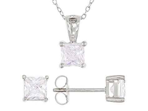 White Cubic Zirconia Rhodium Over Sterling Silver Pendant With Chain And Earrings 3.12ctw