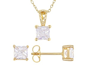 White Cubic Zirconia 18K Yellow Gold Over Sterling Silver Pendant With Chain And Earrings 3.12ctw