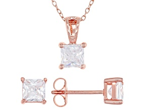White Cubic Zirconia 18K Rose Gold Over Sterling Silver Pendant With Chain And Earrings 3.12ctw