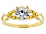 White Cubic Zirconia 18K Yellow Gold Over Sterling Silver Promise Ring 1.35ctw