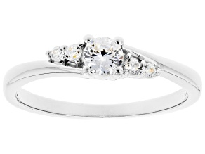 White Cubic Zirconia Rhodium Over Sterling Silver Promise Ring 0.53ctw