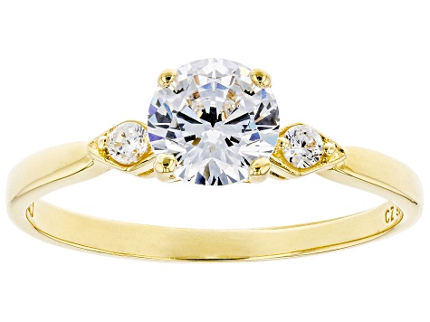 White Cubic Zirconia 18K Yellow Gold Over Sterling Silver Promise Ring 1.46ctw