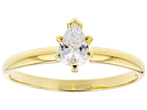 White Cubic Zirconia 18K Yellow Gold Over Sterling Silver Promise Ring 0.60ctw