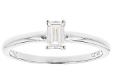 White Cubic Zirconia Rhodium Over Sterling Silver Promise Ring 0.43ctw