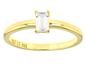 White Cubic Zirconia 18K Yellow Gold Over Sterling Silver Promise Ring 0.43ctw