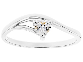 Picture of White Cubic Zirconia Rhodium Over Sterling Silver Heart Promise Ring 0.37ctw