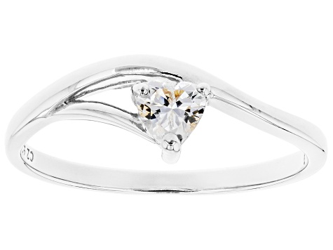 White Cubic Zirconia Rhodium Over Sterling Silver Heart Promise Ring 0.37ctw